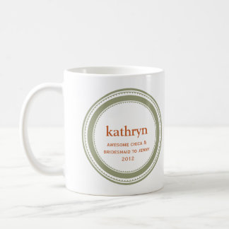 Green custom bridesmaid bachelorette coffee mug