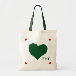green (custom color) heart of love personalized budget tote bag