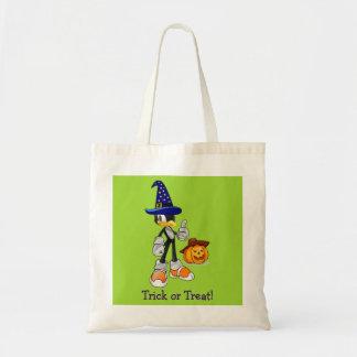 Green Custom Halloween Treat Bags Wizard Penguin