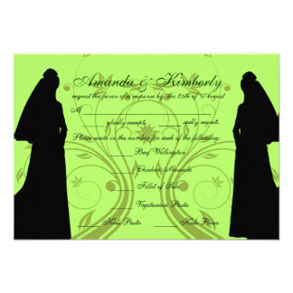 Green Custom Lesbia Wedding RSVP with Meal Choices Invitations
