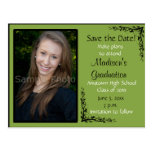 Green Custom Photo Graduation Save the Date Card Postcard