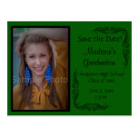 Green Custom Photo Graduation Save the Date Card Post Cards