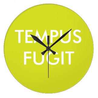 Green Custom Text Latin Phrases Tempus Fugit Wall Clock