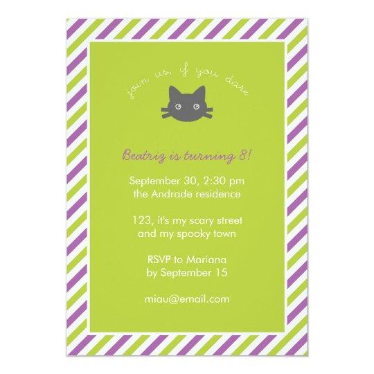 Green Cute Black Cat Kids Halloween Birthday Card