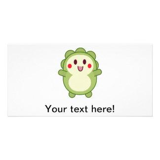 Green cute monster cartoon personalised photo card
