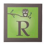 Green Cute Owl Monogram Trivet Tile