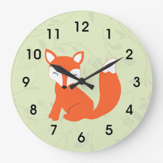 Green Cute Woodland Baby Fox Large Clock