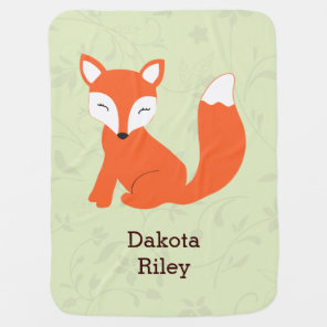 Green Cute Woodland Fox Baby Blanket