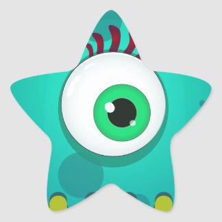 Green cyclopes monster with a huge eye star sticker