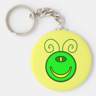 Green Cyclops Monster Face Basic Round Button Key Ring