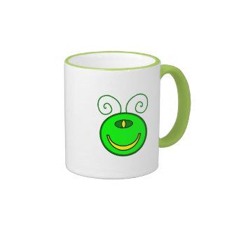 Green Cyclops Monster Face Ringer Mug