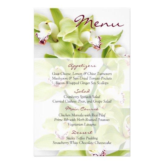 Green Cymbidium Orchid Floral Wedding Menu Card