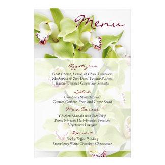 Green Cymbidium Orchid Floral Wedding Menu Card 14 Cm X 21.5 Cm Flyer