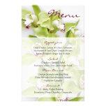 Green Cymbidium Orchid Floral Wedding Menu Card Flyer Design