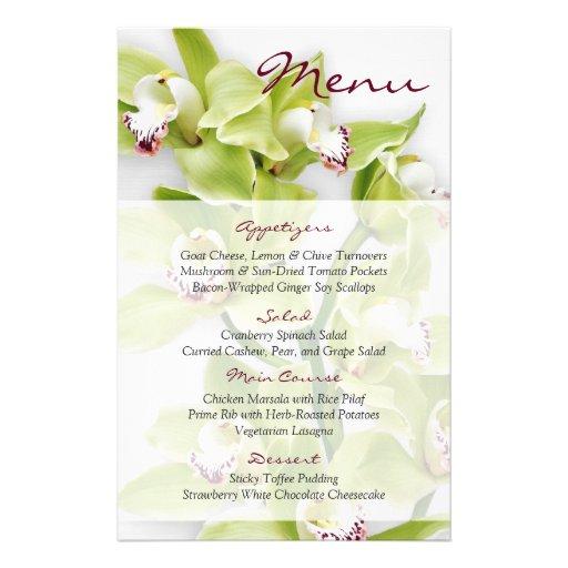 Green Cymbidium Orchid Floral Wedding Menu Card Flyer