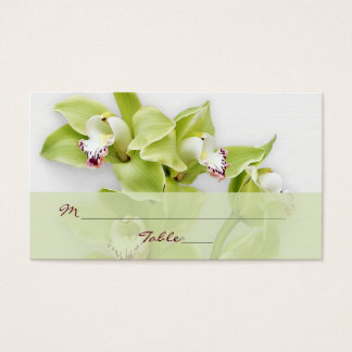 Green Cymbidium Orchid Floral Wedding Place Cards