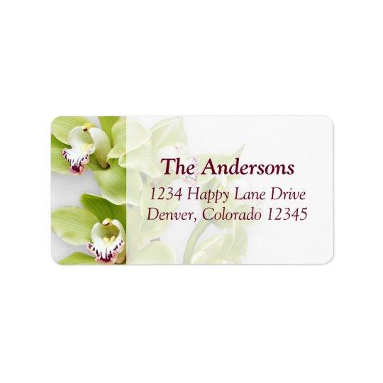 Green Cymbidium Orchid Wedding Address Labels