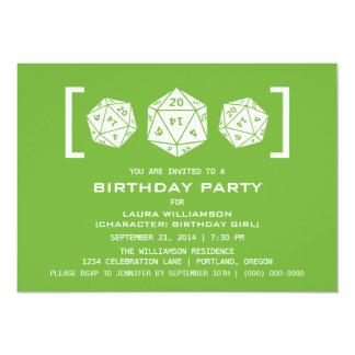 Green D20 Dice Gamer Birthday Party Invite