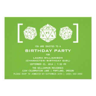Green D20 Dice Gamer Birthday Party Invite