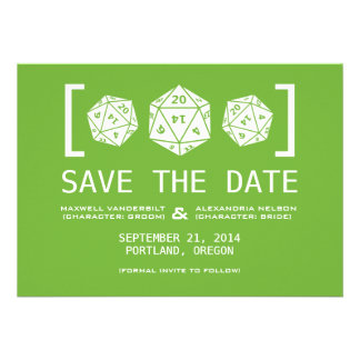 Green D20 Dice Gamer Save the Date Invite