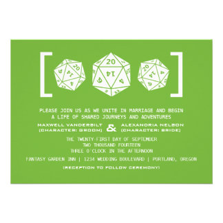 Green D20 Dice Gamer Wedding Invitation