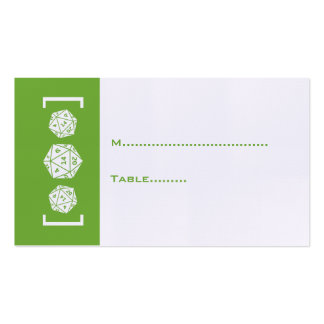 Green D20 Dice Gamer Wedding Place Card Business Card