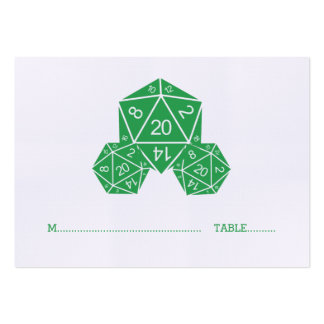 Green D20 Dice Wedding Place Card Pack Of Chubby Business Cards