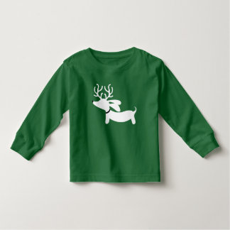 Green Dachshund Wiener Dog Christmas Shirt Toddler