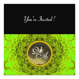 GREEN  DAHLIA, AGATA  ,bright green black yellow 13 Cm X 13 Cm Square Invitation Card