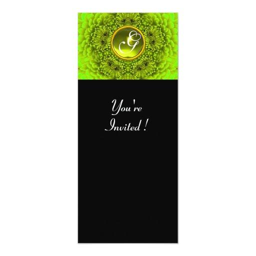 GREEN DAHLIA, TOPAZ ,bright green black yellow 10 Cm X 24 Cm Invitation Card