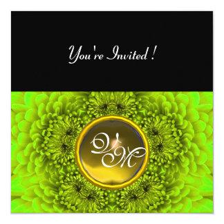 GREEN  DAHLIA, TOPAZ ,bright green black yellow 13 Cm X 13 Cm Square Invitation Card