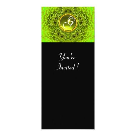GREEN DAHLIA, TOPAZ ,bright green black yellow Card