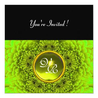 GREEN  DAHLIA, TOPAZ ,bright green black yellow Invitations