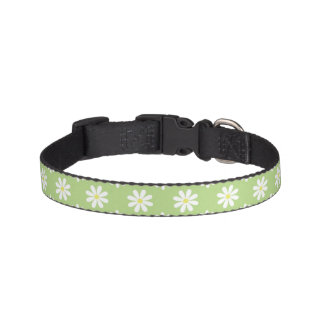 Green Daisies Pattern Pet Collar