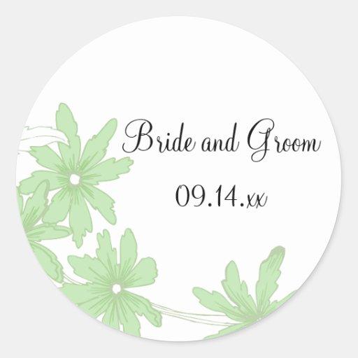 Green Daisies Wedding Envelope Seals Stickers