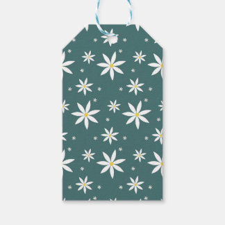 Green Daisy Patterned gift wrap Gift Tags