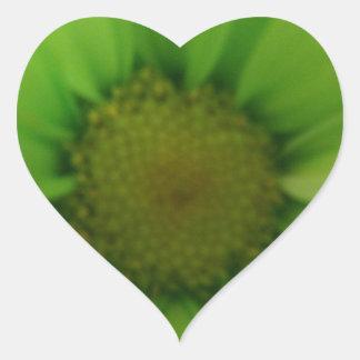 green daisy heart sticker
