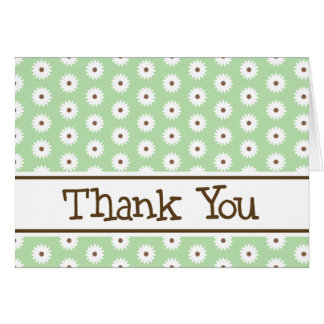 Green Daisy Thank You Note Cards
