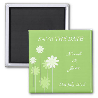 Green Daisy Wedding Save The Date Magnet