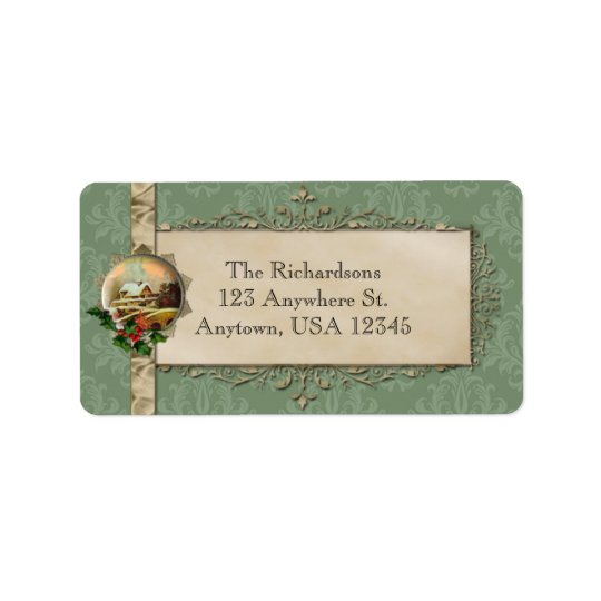 Green Damask and Country Christmas Label