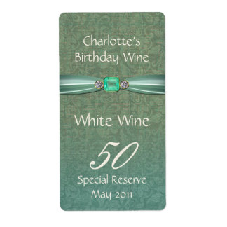 Green Damask Birthday Wine Labels