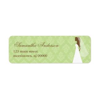 Green Damask Bridal Shower Address Labels