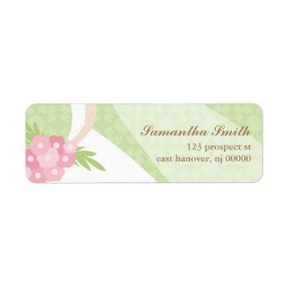 Green Damask Bridal Shower Return Address Label