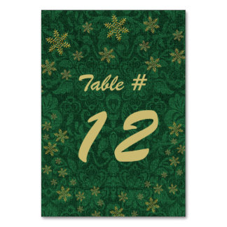 Green Damask Christmas Party Table Number
