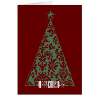 Green Damask Christmas Tree Greeting Card