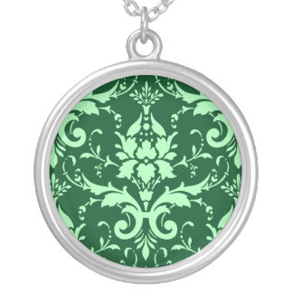 Green Damask Color Green Background Round Necklace
