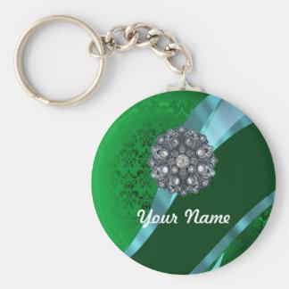 Green damask & crystal key ring