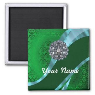 Green damask & crystal magnet