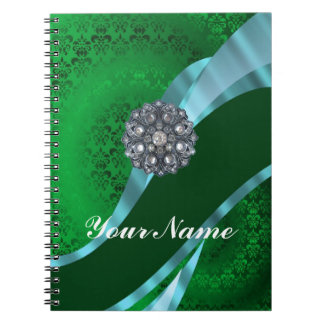 Green damask & crystal notebook