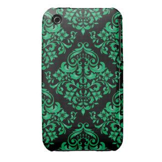 Green Damask Design Blackberry Curve case